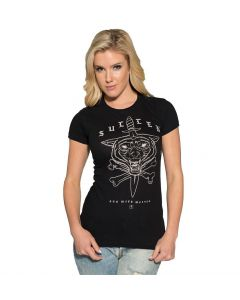 Sullen Angels Run with Wolves Women's Black Tee Front