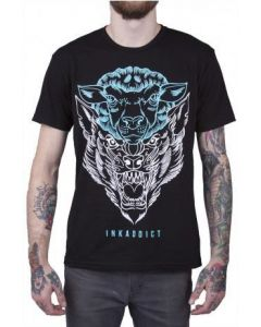 Travis Brown Blue Men's Deception Tee by InkAddict Front View