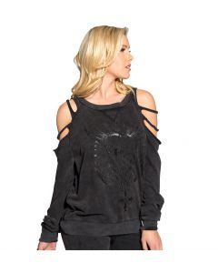 Sullen Angels Shred Sleeve Women's Acid Wash Pullover Front