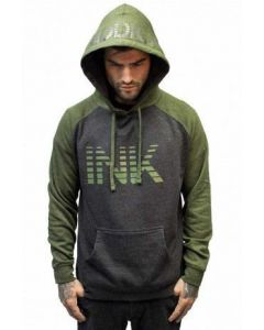 Ink Lines Army and Charcoal Raglan Hoodie by InkAddict