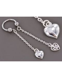 """14g 1/2"""" Circular Barbell with Two Heart Charms – Price Per 1"""