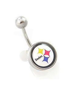 "14g 7/16"" NFL Body Jewelry for Belly Button Ring – Pittsburgh Steelers"