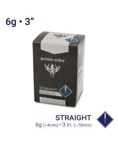 "6g Sterilized Straight 3"" Body Piercing Needles — Box of 25"