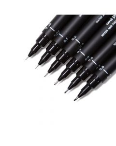 Precision Artist Black Drawing Pens – One Set of 6 Assorted Tips