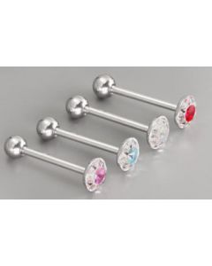 """14g 5/8"""" Steel Casted Multi Gem Circle Straight Barbell- Front View"""