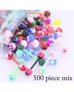 "14g 5/8"" PTFE Straight Barbell- 500 Piece Deal- Mix View"