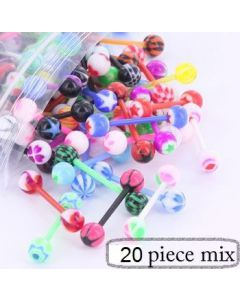 "14g 5/8"" PTFE Straight Barbell- 20 Piece Deal- Mix View"