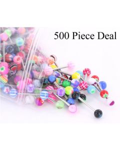 "14g 5/8"" Acrylic Ball Straight Barbell- 500 Piece Deal- Mix View"