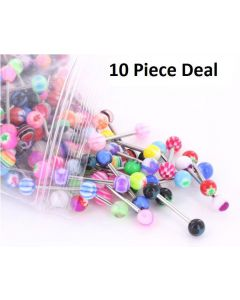 "14g 5/8"" Acrylic Mix Straight Barbells - Price Per 10"