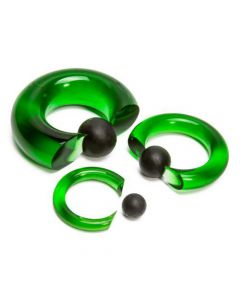 Green Vampire End Glass Captive Bead Ring with Black Silicone Ball