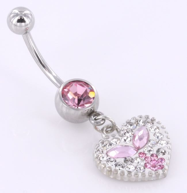 Painful Pleasures 14g 7//16 Jewel Explosion Heart Belly Button Ring