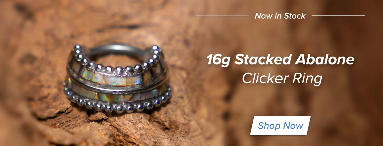 16g Stacked Abalone Clicker Ring
