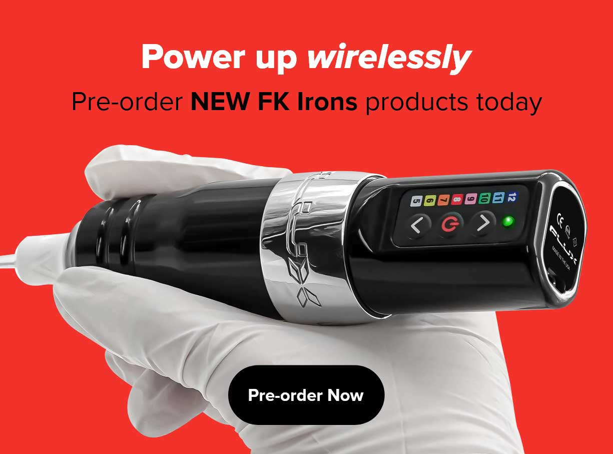 Photo of a white-gloved hand holding a Flux wireless tattoo machine with the text Power up wirelessly. Pre-order NEW FK Irons products today. Pre-order now