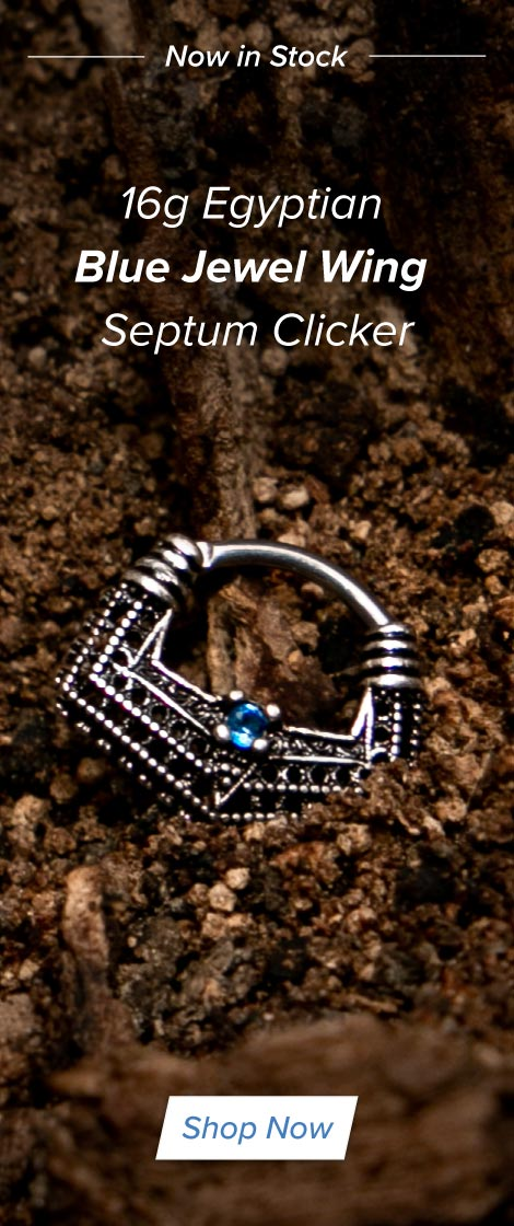 16g Egyptian Blue Jewel Wing Septum Clicker