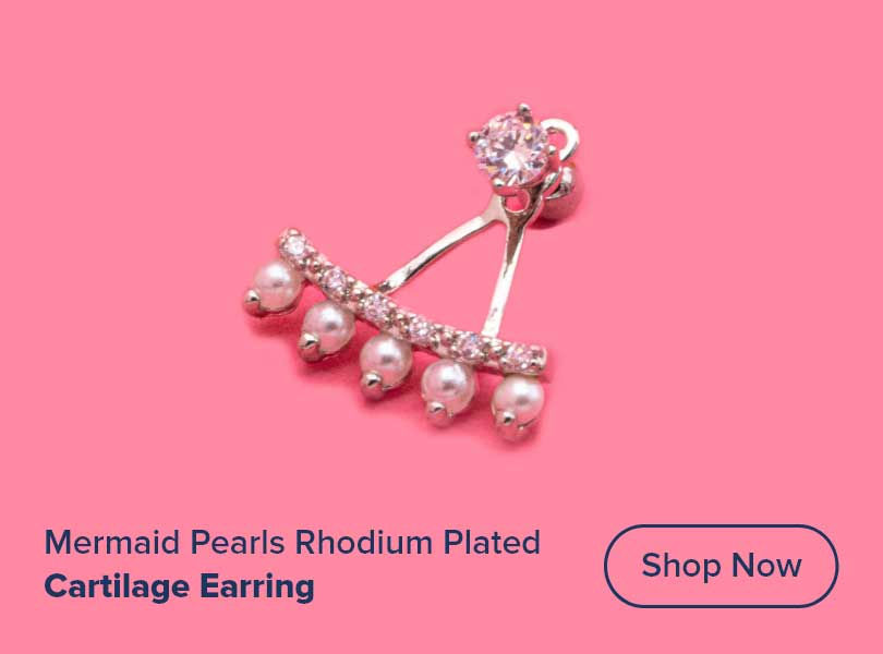 "16g 1/4"" Mermaid Pearls Rhodium Plated Cartilage Earring"