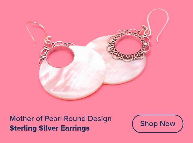 Mother of Pearl Round Design # 5 with .925 Sterling Silver