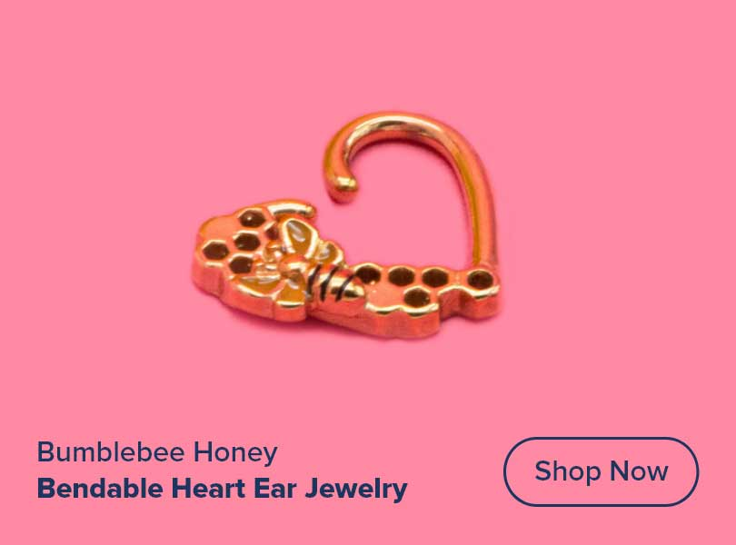 16g PVD Gold Bumblebee Honey Bendable Heart Ear Jewelry